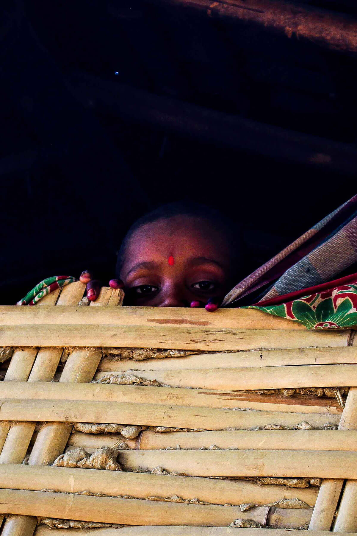 Babita Marik's son peeps through the bamboo wall. Bamboos are essential part of Mariks' lives.