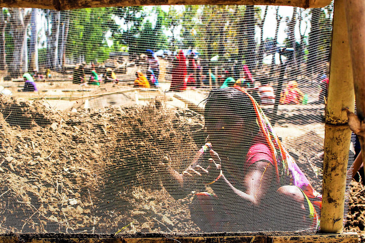 Woman working in a nursery in Rupani Municipality in Saptari District